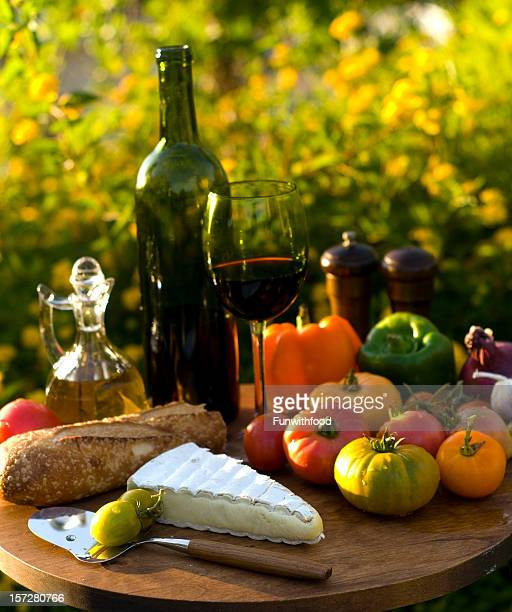 Cheese, French Wine Bottle, Fruit, Bread & Vegetables, Picnic Food Outdoors