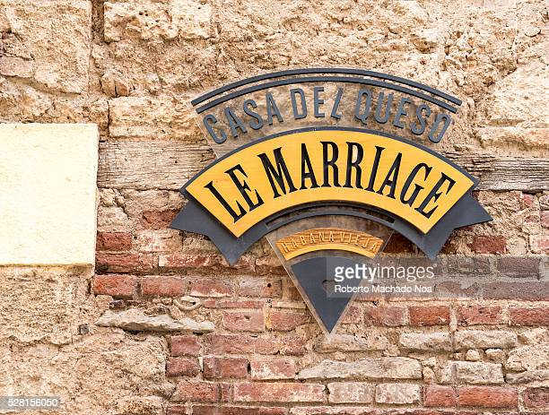 Cheese house Le Marriage weathered and vintage red brick wall The restaurant is popular in Old Havana