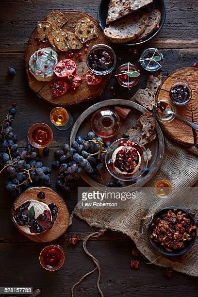 Cheese, jams, and wine