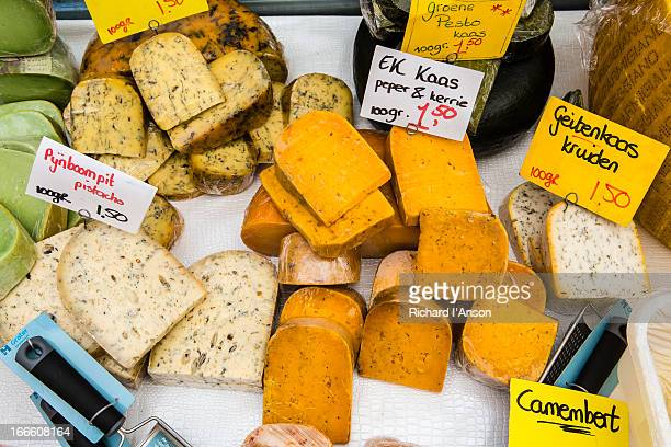 Cheese on market stall at Albert Cuypmarkt