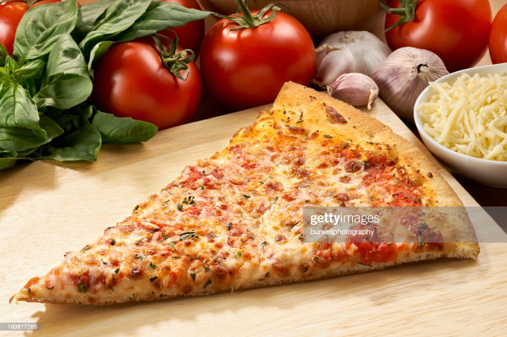 Cheese Pizza Slice with ingredients : Stock Photo