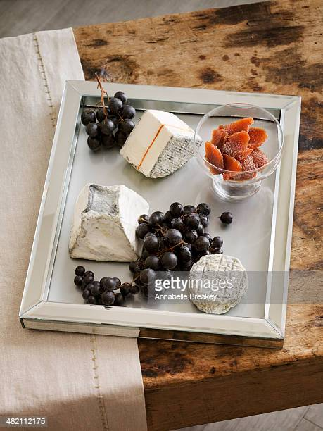 Cheese Plate with Grapes and Quince