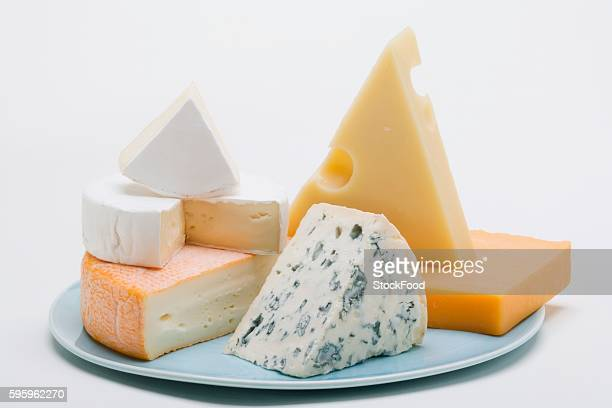 Cheese plate with hard cheese, blue cheese and soft cheese