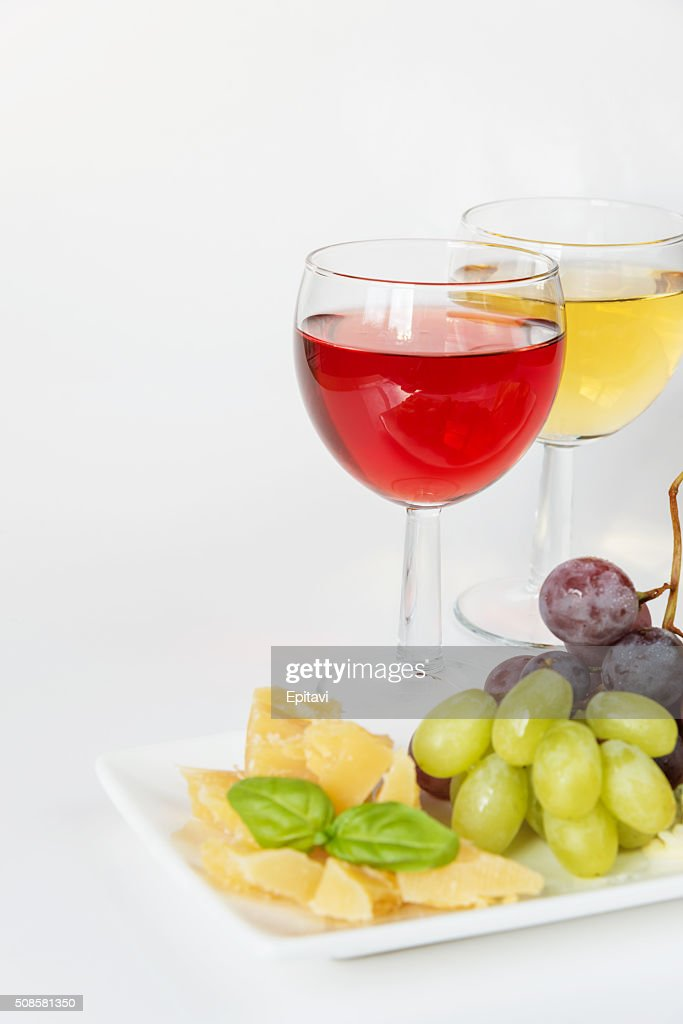 Cheese platter and white : Stock Photo