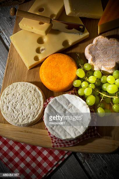 Cheese platter, different cheese, french cheddar, french soft cheese, french sheep cheese, camembert, emmentaler, and austrian mountain cheese
