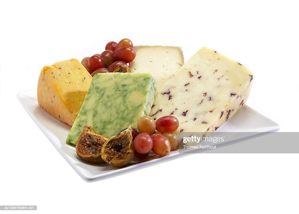 Cheese platter on white background : Stock Photo
