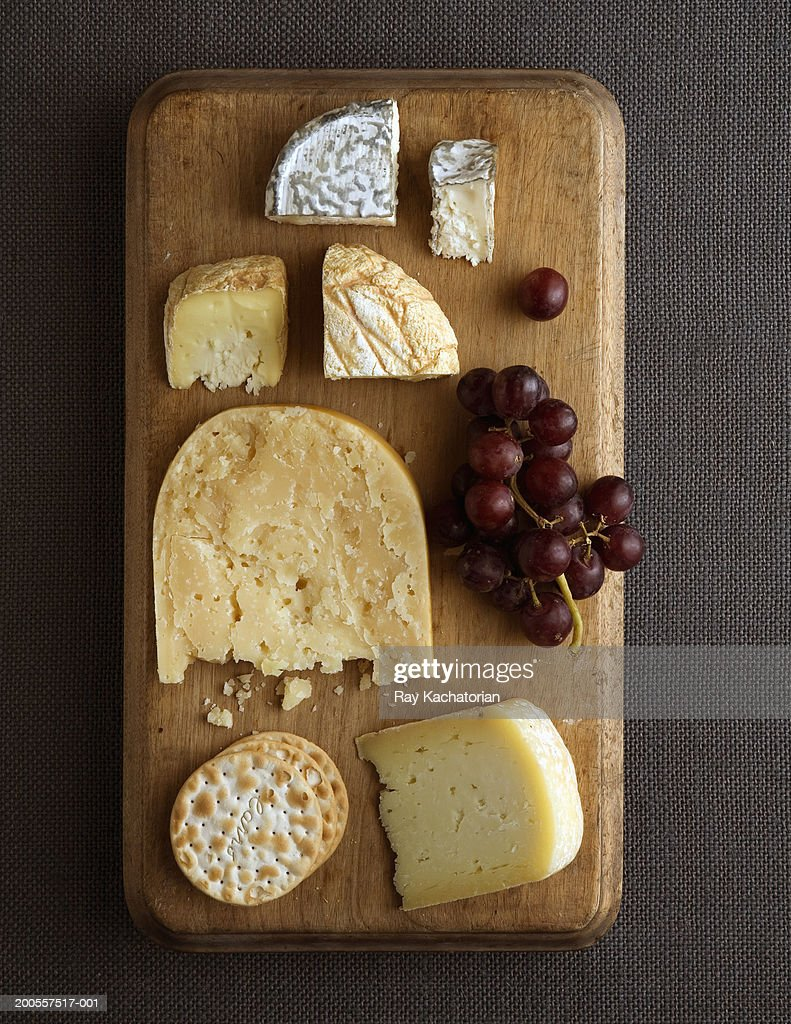 Cheese platter, overhead view : Stock Photo