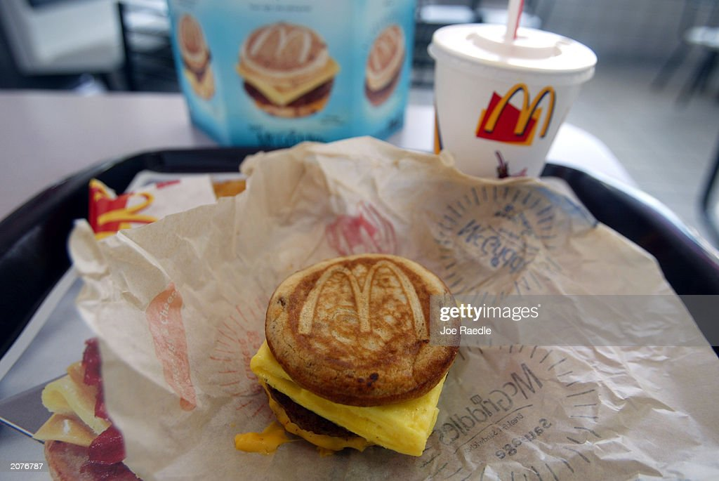 A cheese sausage and egg McGriddles breakfast sandwich at a McDonald's is shown June 12 2003 in Coral Gables Florida The new McGriddles breakfast...
