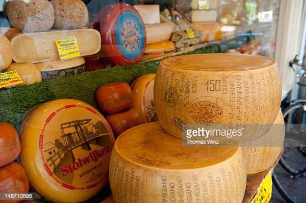 Cheese shop window display.