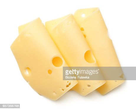 Cheese Slices Isolated on White Background : Stock Photo