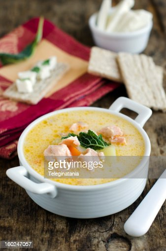 Cheese soup with salmon : Stock Photo