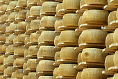 lots of wheels of parmesan cheese on shelves of a storehouse
