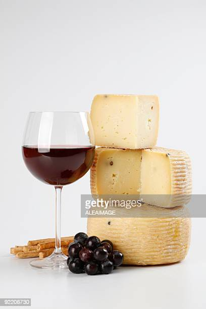 Cheese wine and grapes
