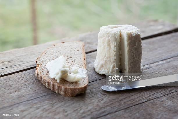 Cheese with bread slice on wooden table