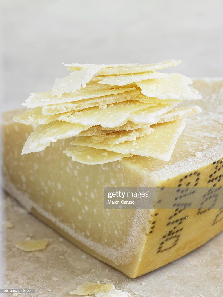 Cheese with thin slices, close-up