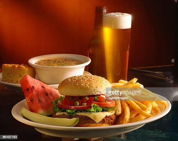 Cheeseburger and bisque with beer