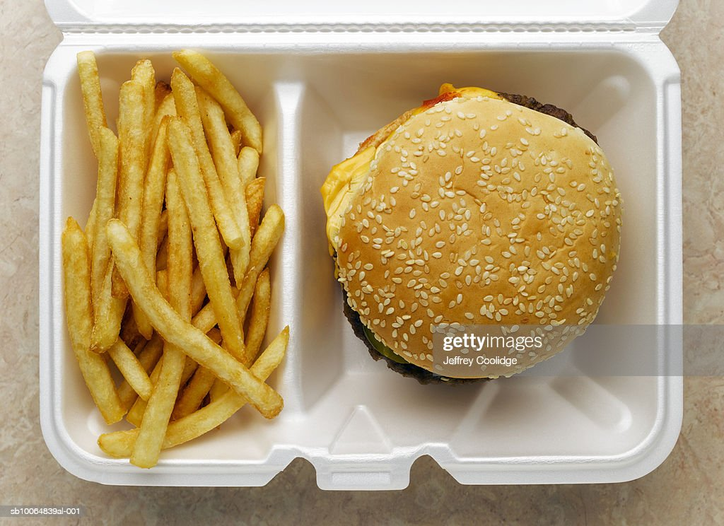 Cheeseburger and french fries in take-out container : Stock Photo