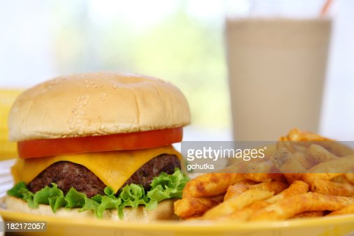 Cheeseburger, French Fries, and Shake