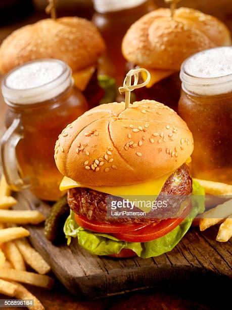 Cheeseburger Sliders with Beer Samplers