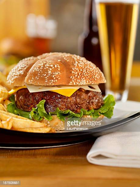 Cheeseburger with fries and a Beer