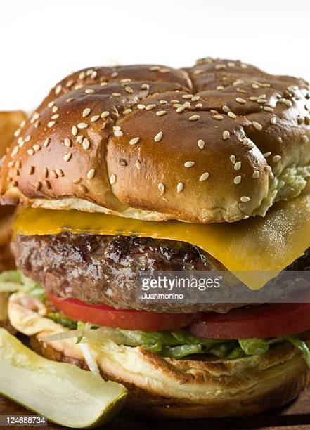cheeseburger with lettuce and tomato on a sesame seed bun
