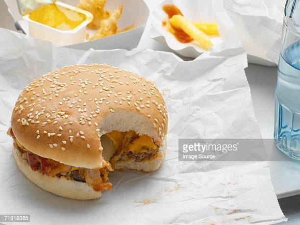 Cheeseburger with missing bite