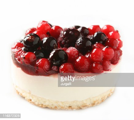Cheesecake Dessert with Red Berries on White Background