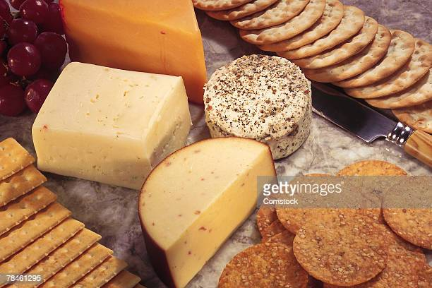 Cheeses and crackers