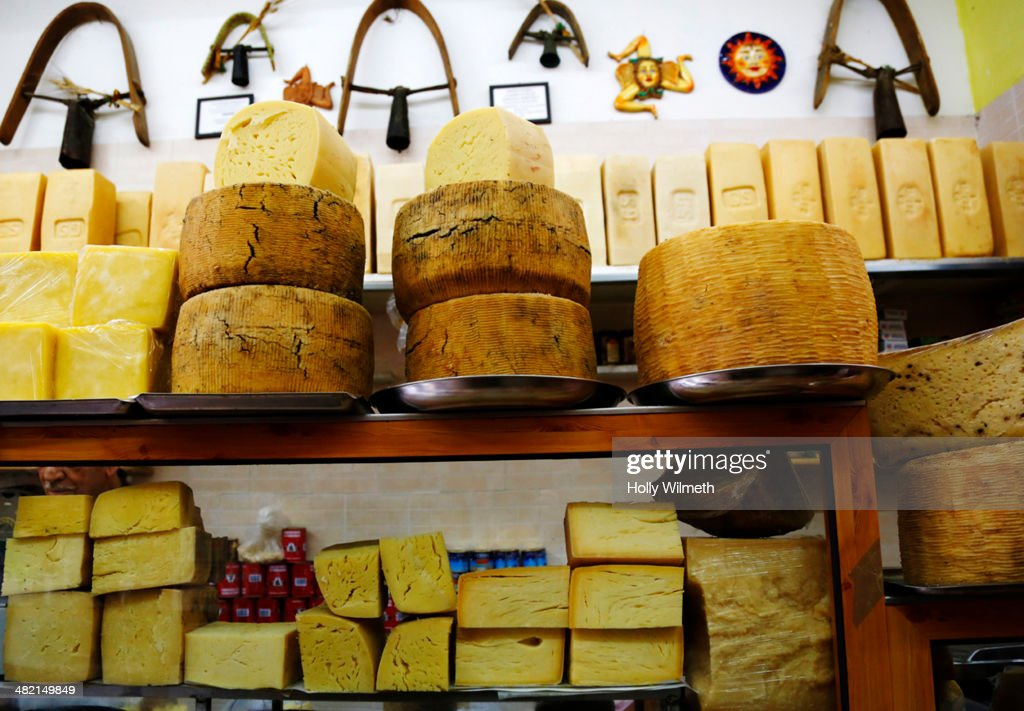 Cheeses for sale in shop : Stock Photo