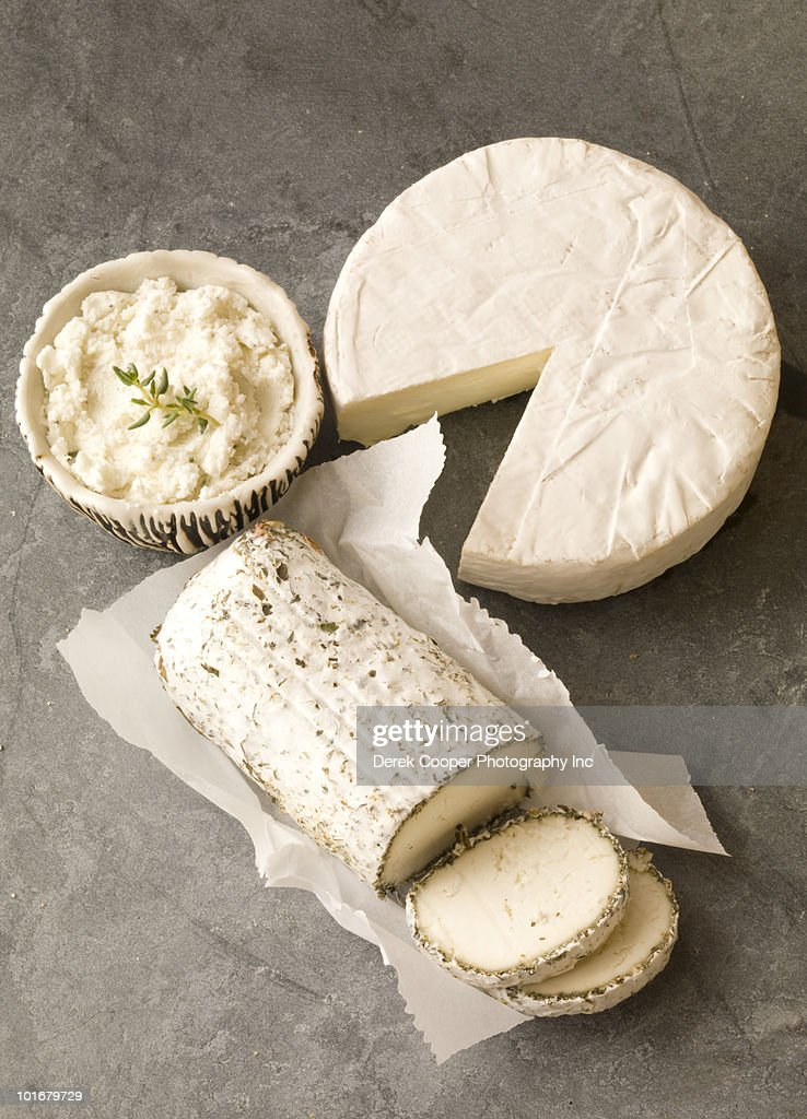 Cheeses on slate : Stock Photo