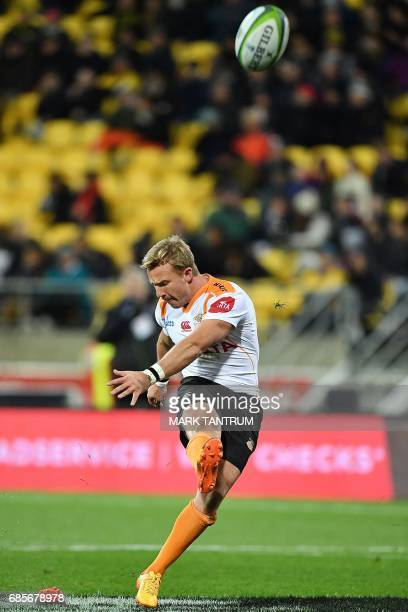 CORRECTION Cheetahs' Fred Zeilinga converts his own try during the Super Rugby match between New Zealand's Hurricanes and South Africa's Cheetahs at...