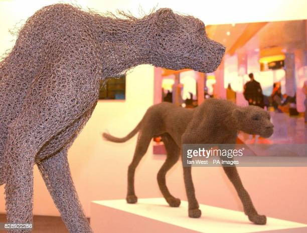 Cheetahs made from chicken wire from a set called 'Ostrich and Cheetahs' by Kendra Haste at the Patrick Davies Gallery stand as part of the London...