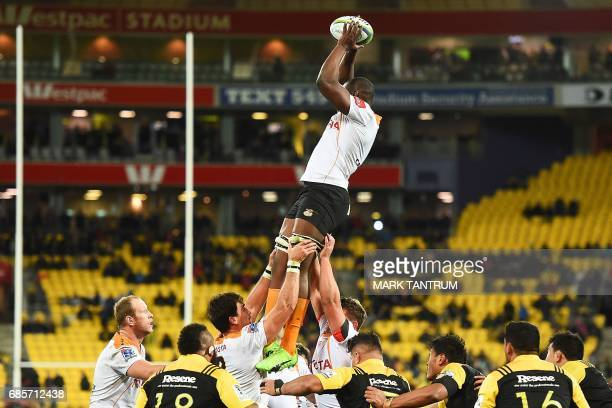 Cheetahs' Oupa Mohoje catches the line out ball during the Super Rugby match between New Zealand's Hurricanes and South Africa's Cheetahs at Westpac...