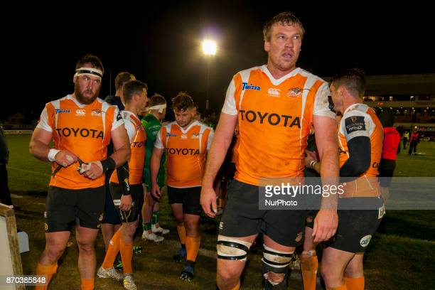 Cheetahs players disappointed during the Guinness PRO14 Round 8 rugby match between Connacht Rugby and Toyota Cheetahs at the Sportsground in Galway...