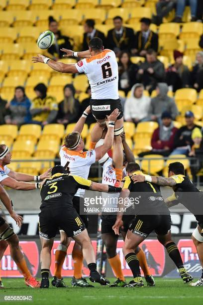 Cheetahs' Uzair Cassiem clears the line out during the Super Rugby match between New Zealand's Hurricanes and South Africa's Cheetahs at Westpac...