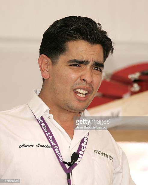 Chef Aaron Sanchez during 2006 South Beach Wine Food Festival Grand Tasting Day 2 at Ocean Drive in Miami Beach United States