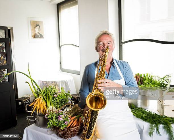 Chef Alain Passard poses in its restaurant l'Arpege elected the best restaurant in Europe on may 26 2016 in Paris France