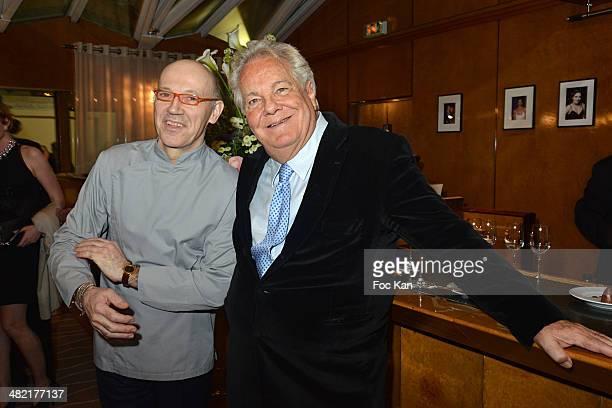 Chef Alberico PenatiÊand Massimo GargiaÊattend the Penati Al Baretto Restaurant Opening Dinner at the Hotel de Vigny on April 2 2014 in Paris France