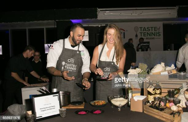 Chef Alex Diaz and Elina Svitolina are seen at the chefs table during the Citi Taste Of Tennis Miami at W Hotel on March 20 2017 in Miami Florida