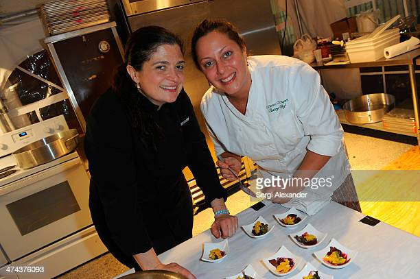 Chef Alex Guarnaschelli and Colleen Grapes attend Vegetarian Dinner Hosted By Alfred Portale And Alex Guarnaschelli With Matthew Kenney during the...