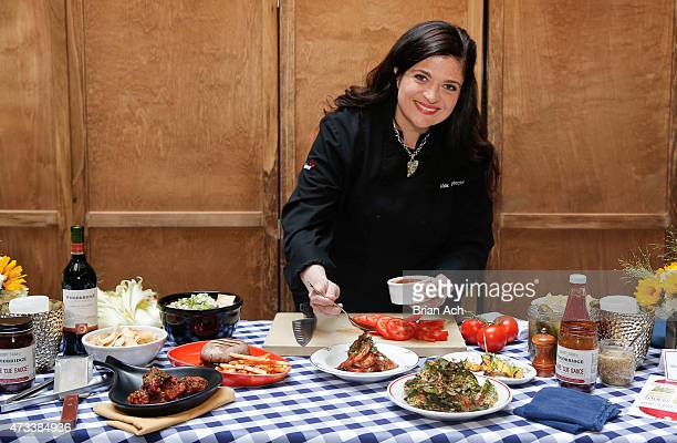 Chef Alex Guarnaschelli is seen at the Woodbridge Wine 'Cue Sauce Block Party on May 14 2015 at Butter in New York City