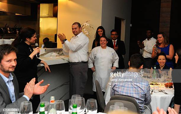 Chef Alex Guarnaschelli speaks at Bella Cucina A Dinner Hosted By Alex Guarnaschelli With Dena Marino during the Food Network South Beach Wine Food...