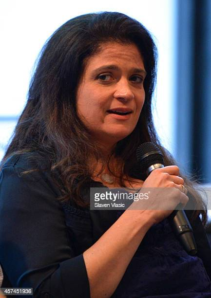 Chef Alex Guarnaschelli speaks at Mastering Your Mistakes In The Kitchen hosted by Dana Cowin during the Food Network New York City Wine Food...