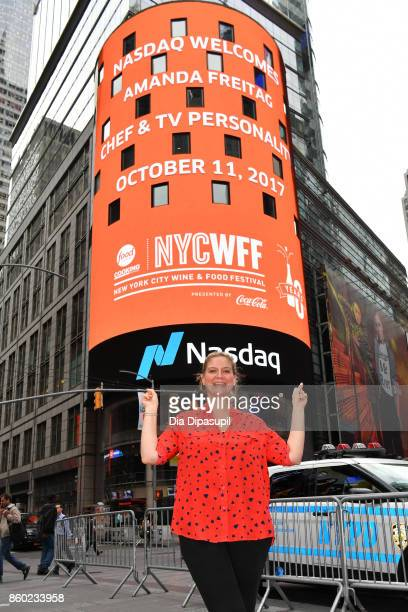Chef Amanda Freitag poses after ringing the opening bell with the Food Network Cooking Channel New York City Wine Food Festival presented by CocaCola...