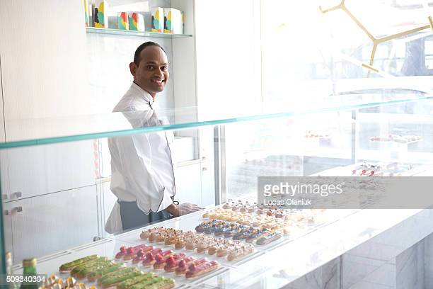 Chef and coowner of the Nugateau eclair shop Atul Palghadmal photographed inside his new Queen Street business