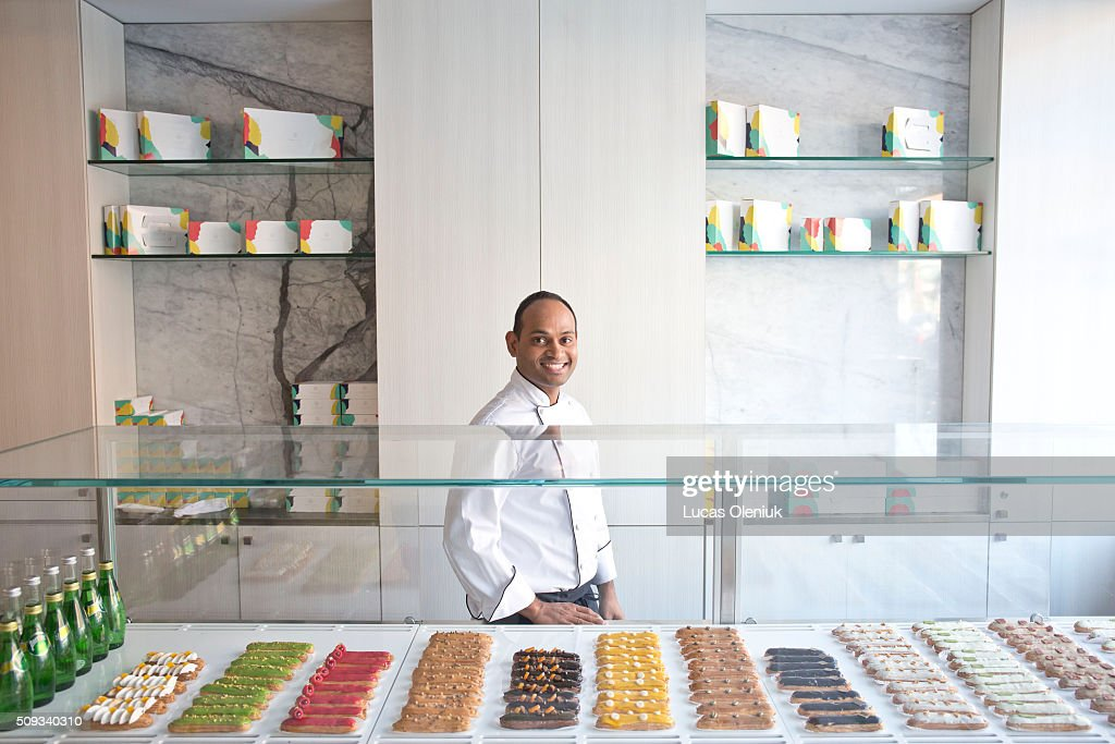 Chef and co-owner of the Nugateau eclair shop, Atul Palghadmal photographed inside his new Queen Street business.