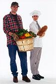 Chef and farmer with bushel