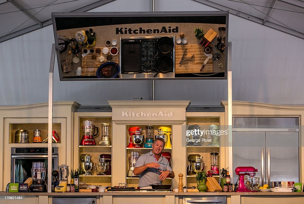 Chef and owner of Fort Worth's Lonesome Dove restaurant Tim Hall conducts a cooking demonstration on marinades and seasoning on June 14 in Aspen...