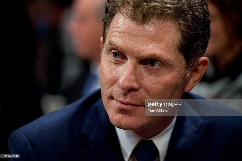 Chef and racehorse owner Bobby Flay, prepares of news conference in the Capitol Visitor Center, April 28, 2016, on the 'Thoroughbred Horseracing Integrity Act,' which would create a uniform anti-doping program to provide oversight for the sport.