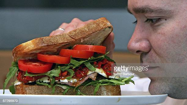 Chef and sandwich creator Scott MacDonald makes a sandwich which costs GBP 8550 at the department store Selfridges on April 10 2006 in London England...
